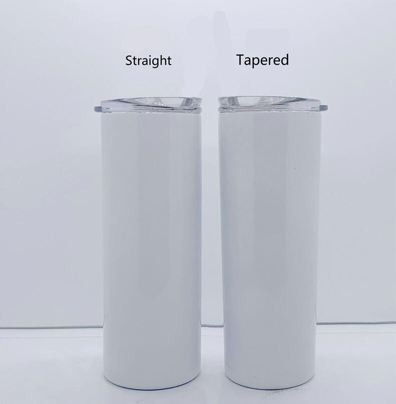 Sublimation Skinny Tumblers 20 Unzen Leere weiße kegelförmige gerade dünne Tasse mit Deckel Stroh 20 Unzen Edelstahl Vakuumbecher Meer Versand W46