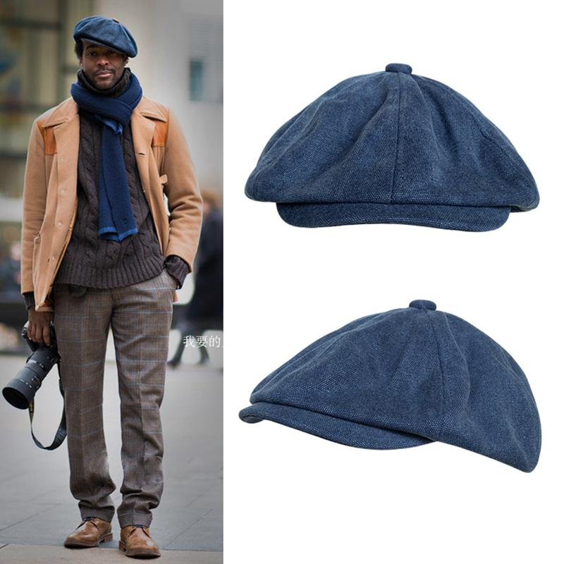New Casquette Cotton Canvas Blue Men's Newsboy Hat Gentleman Berets Lady Retro England Cowboy Hat Literary Octagonal Cap BLM43 C1121