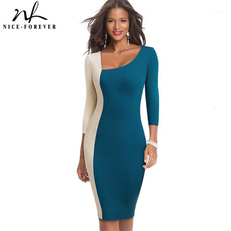 Хороший-навсегда элегантный контрастный цвет лоскутное офис Vestidos Business Party Bodycon Neight Женское платье B5461