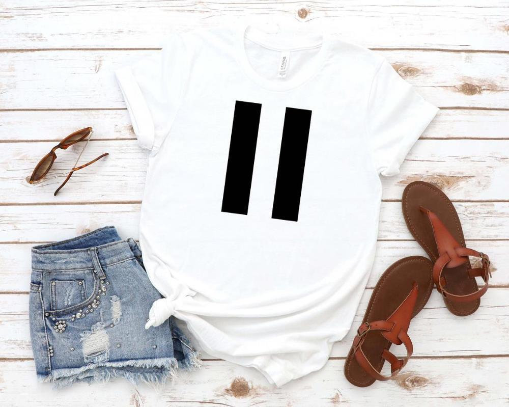PAUSA Imprimir Mujer Tshirt Algodón Casual Funny T Shirt Regalo 90S Lady Yong Girl Gall Barra S-871