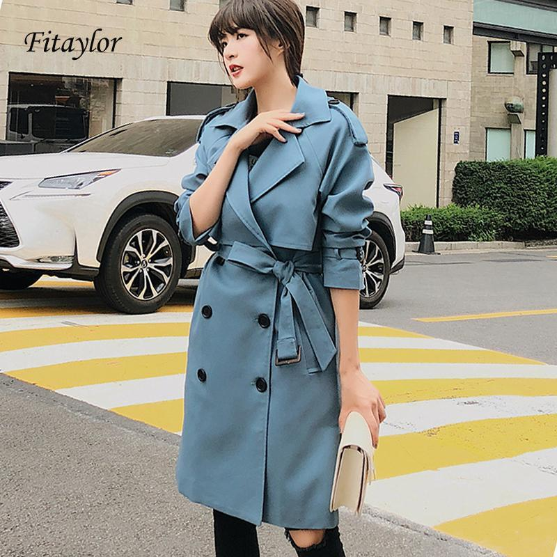 Fitaylor New 2020 Double Breasted Mid-Long Trench Coat Women Casual Slim Cock Cloak Vintage Brevebreaker Outwear