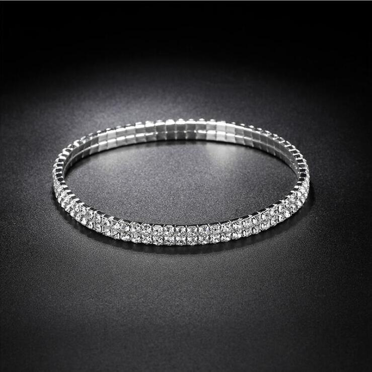 Sparkly Crystal Rhinestone Stretch Anklet Hot Sale Summer Beach Barefoot Sandal Ankle Chain Anklet Foot jewelry for Women 1802