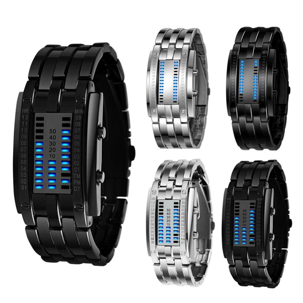 Luxo Relógio Amantes Homens Mulheres Aço Inoxidável Azul Binário Luminoso Levado Eletrônico Display Sport Watches Moda Mulheres Relógios 201124
