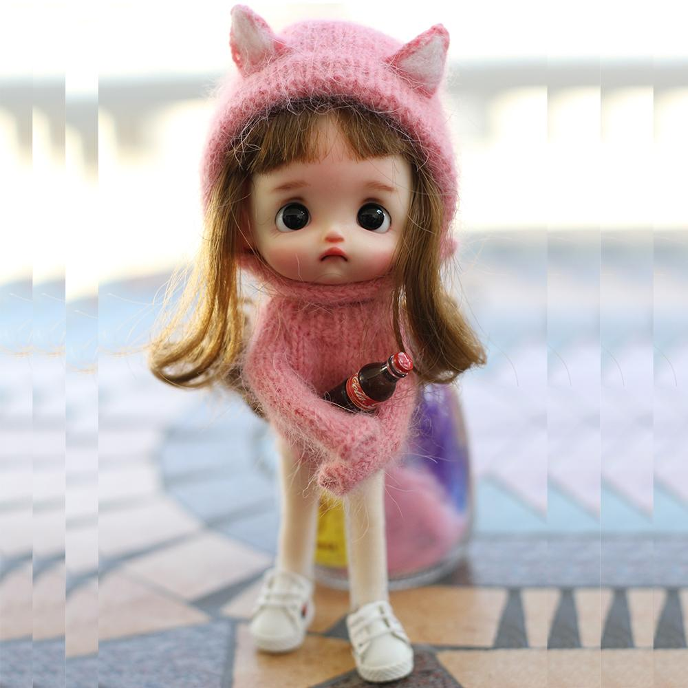 New Cute Doll Clothes Fashion Sweater + Hat + Scarf + Socks For ob11/ obitsu11 1/12 BJD Doll Clothes Accessories For Doll Y0112