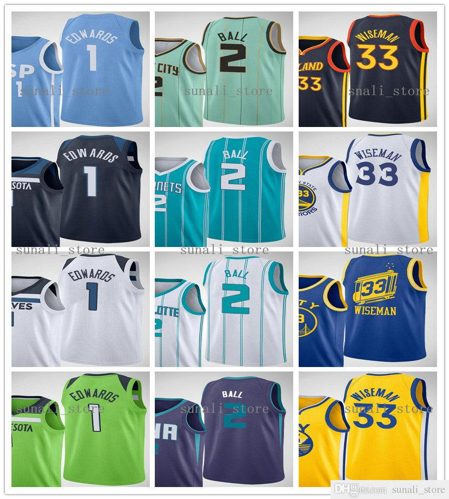 2020-21 Basketball Profil Pick Jerseys 1 Anthony Edwards 33 James Wiseman 2 Lamelo Ball Shirts Hommes Femmes Enfants Jeunes Envoi rapide