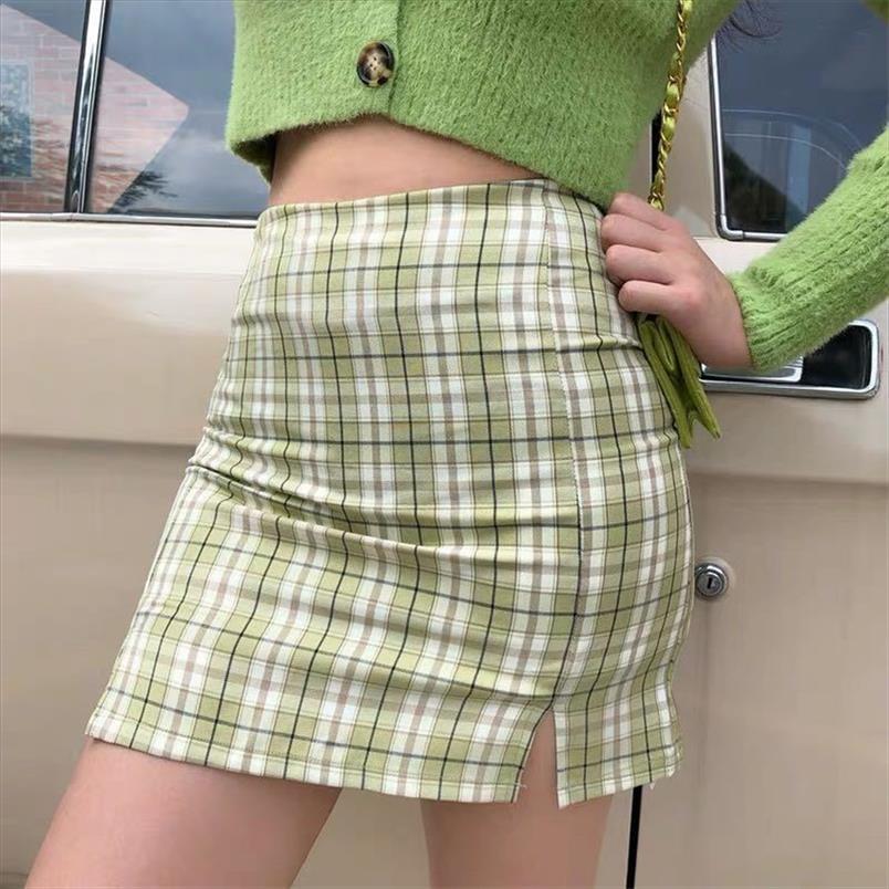 Moda Coreana Manta Impressão Split Mini Saia Mulheres Harajuku Estilo Preppy Plissado Saias Senhoras Mini Skort em cheque Jupe Femme