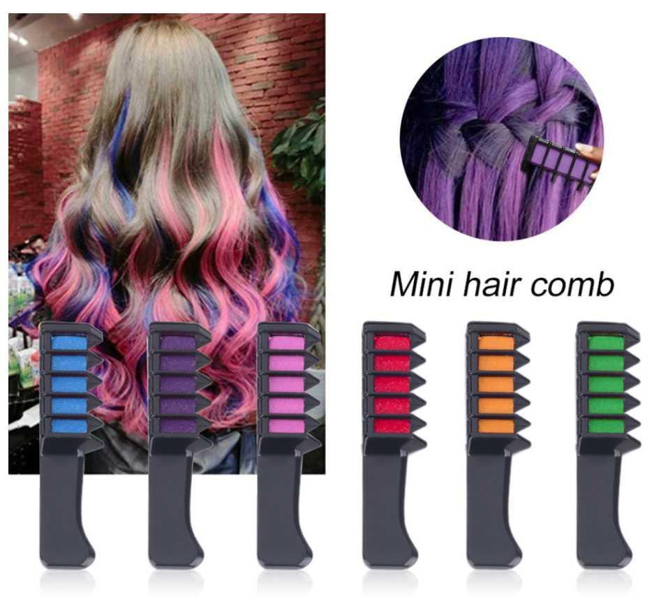 Vente en gros 6 Couleur jetable Cheveux Crak Peigne Temps temporaire Chalk Type Tool Cosplay Partie de coiffure Coiffe Teinture Outil rapide