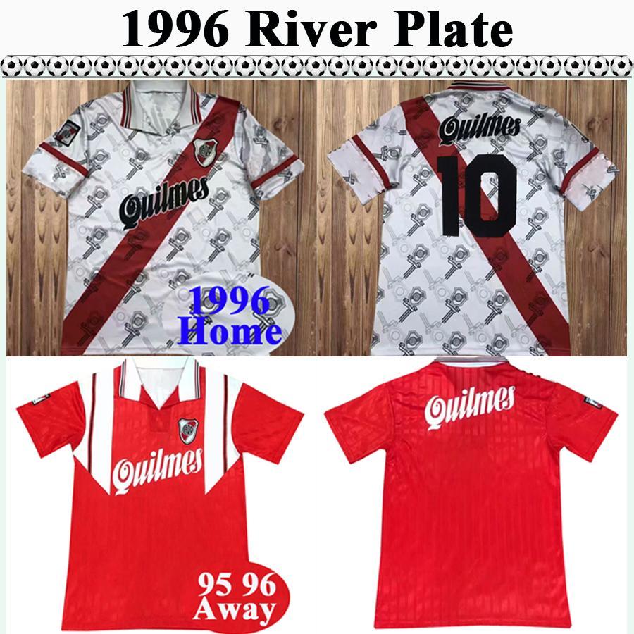 1996 River Assiette Mens rétro Jersey Soccer Canégigia Crespo Francescoli D.Trezeguet Accueil Chemise de football à manches courtes