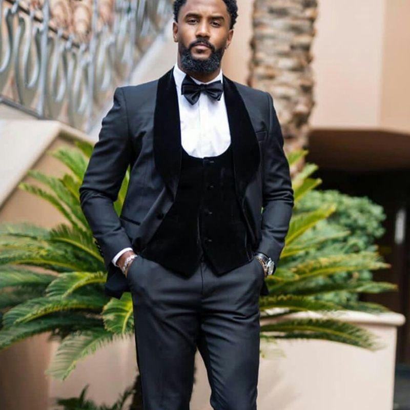 Зимние красивые мужские высококачественные брюки костюмы плюс размер две кнопки жених лучшего человека пальто бизнес свадьба Blazer бархатный жилет 3 шт.