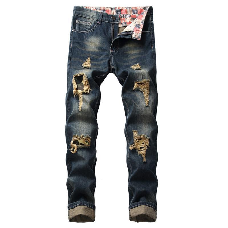 Pantaloni distrutti da uomo Moruancle Fashion Straight Vintage Denim Denim Strappato per Jeans in difficoltà maschile Plus Size 28-42
