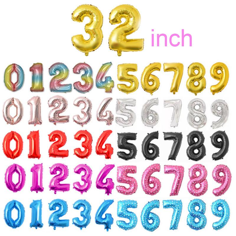 32 Inch Helium Air Balloon Number Shaped Inflatable Ballons Birthday Wedding Decoration Party Supplies 10 Colors Kimter-Z94Z