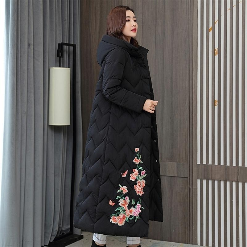Chinese Style Women's Winter Jacket X-long Hooded With Embroidery Woman Parkas Plus Size Stand Collar Single Breasted Thick Coat 201211