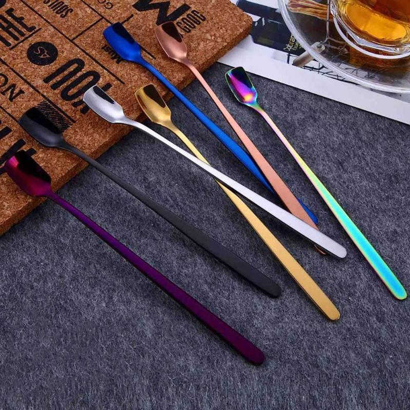1pcs acier inoxydable long poignée glacée cuillère cuillère cuillère glacée boisson froide jus de fruit long glace buvette outils
