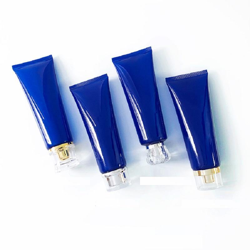 25 pcs / lote vazio 120 ml limpador facial tubo macio translúcido azul cosmético recipiente de gel de cabelo maquiagem espremer garrafa