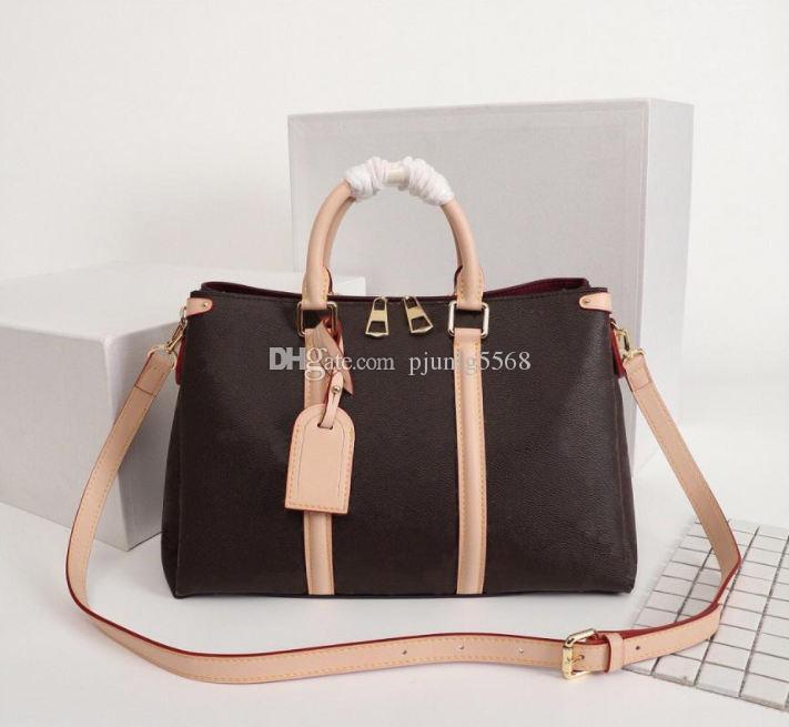 2021 Frauen Tasche Leder Schulter mit Leder Handtaschen 100% Hahnentritt Sattel Stoff Box Kreuzkörper mit Handtasche OWPGA