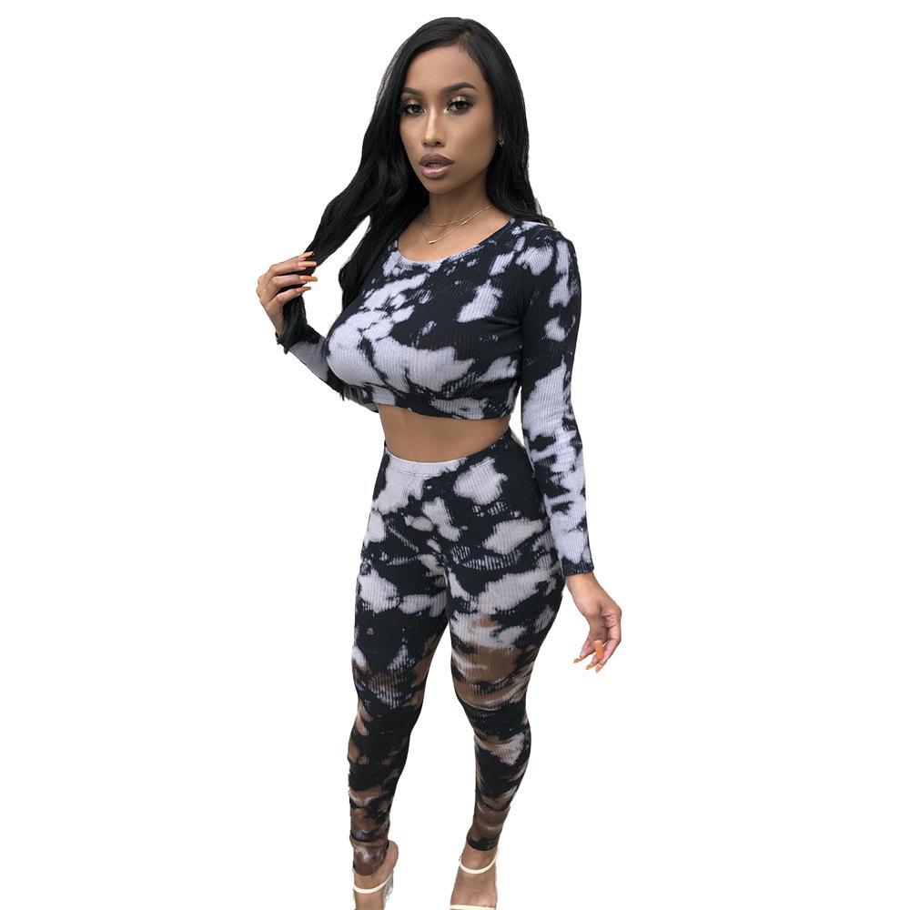 2021 Новый Tie-Dye Print Длинные рукава Женщины BodyCon Две чашки Настройки короткой футболки + Высокая Талия Летные брюки Ночной клуб Наборы вечеринки