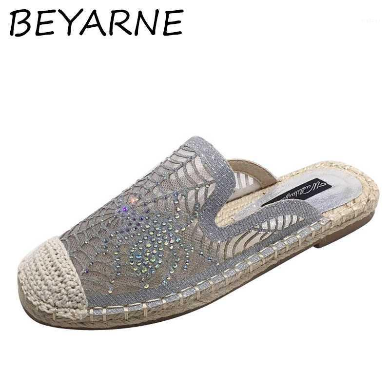 BEYARNE Crystal spider decoration lace straw slippers women round toe air mesh sneakers shoes breathable spider web slides mules1