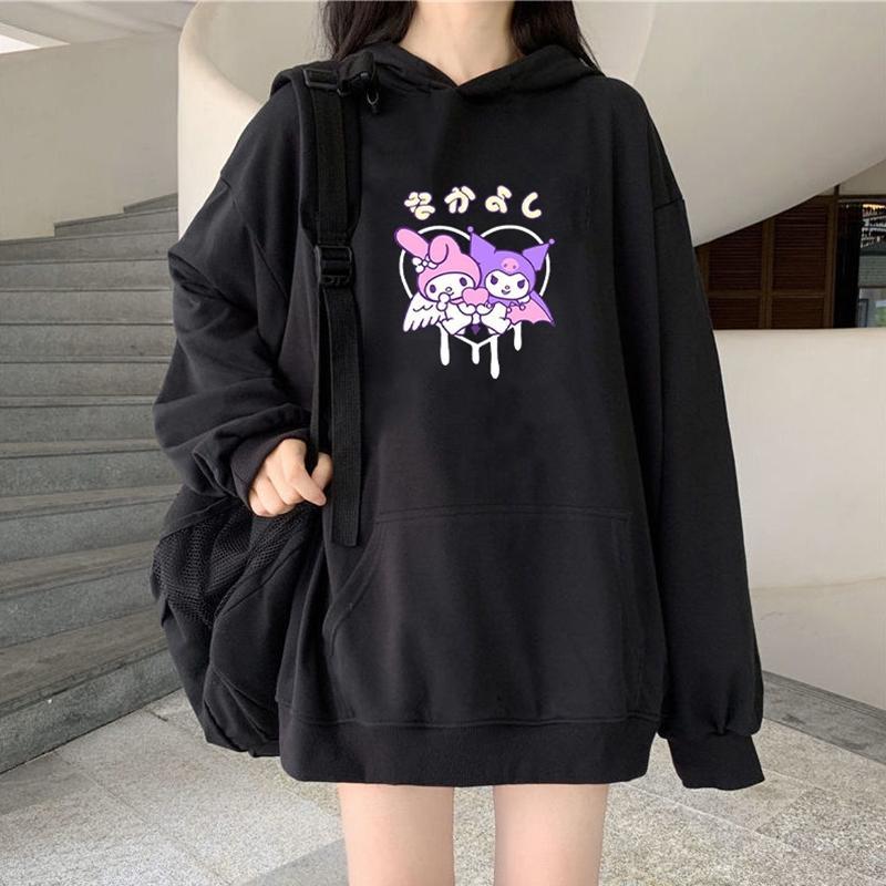 Harajuku cartoon algodão hoodie bonito impressão engraçado luva longa kuromi hoodie top outono desgaste de rua o-pescoço doce menina hoodie 201127