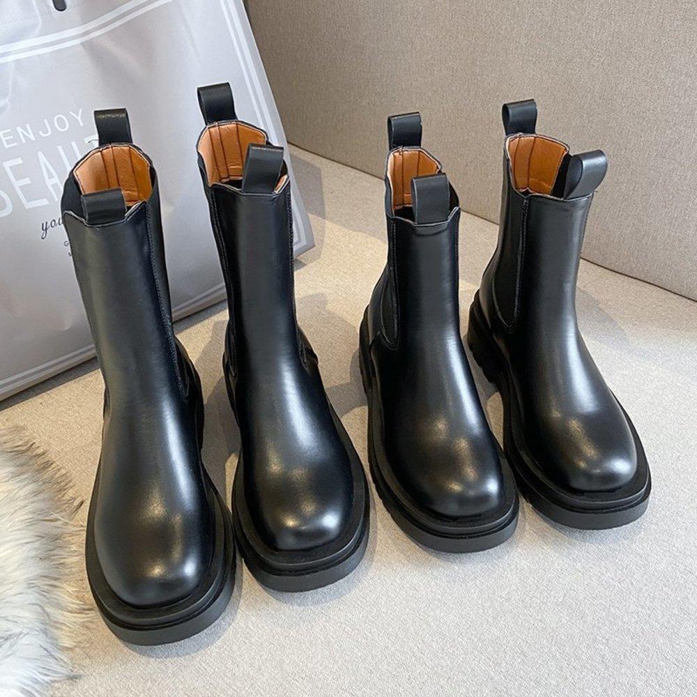 Туальные коренастые женщины зима PU SULUE PLUCHE Односнабные туфли Черный женский Herf Chelsea Laarzen Модные платформы Booties