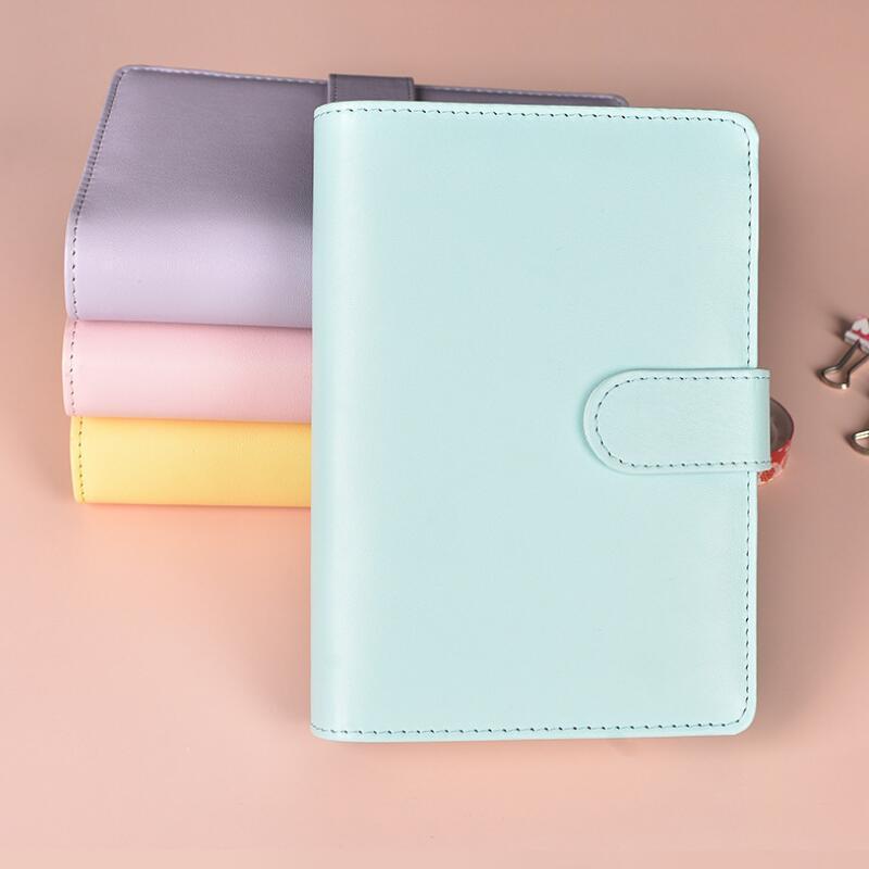A6 cuaderno vacío Carpeta de hojas sueltas de papel Cuadernos Sin PU imitación de cuero de la cubierta de la carpeta de archivos espiral planificadores Álbum de recortes DWD2960