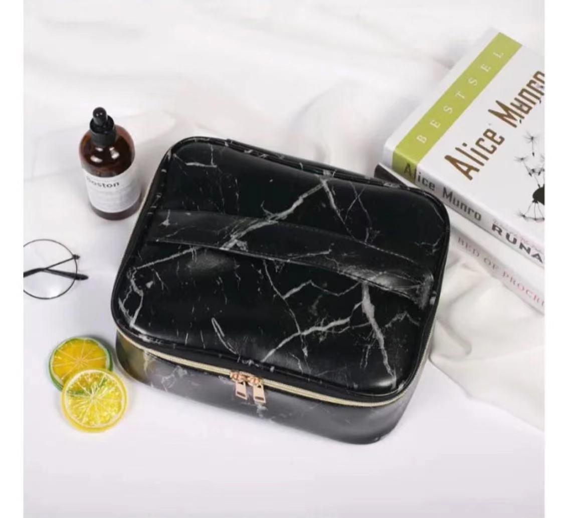 جديد حجر نمط حقيبة مستحضرات التجميل المحمولة حقيبة تخزين سعة كبيرة حقيبة السفر