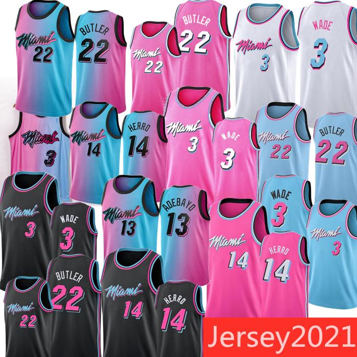 Çocuk Erkekler Dwyane 3 Wade Jimmy 22 Butler Formalar Tyler 14 Herro Bam 13 Adebayo 55 Robinson 2020-21 Pembe Bule Beyaz Şehir Basketbol Forması