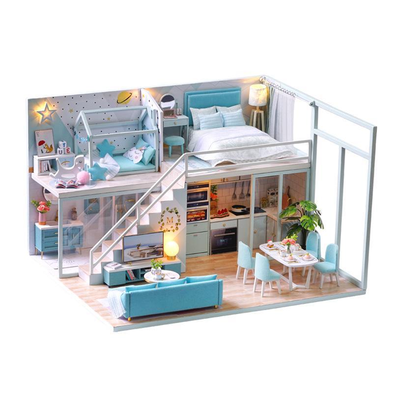 DIY Dockhouse Деревянные кукла Дома Миниатюрная кукла Дом Мебель для мебели Casa Music LED Игрушки для детей День рождения Подарок