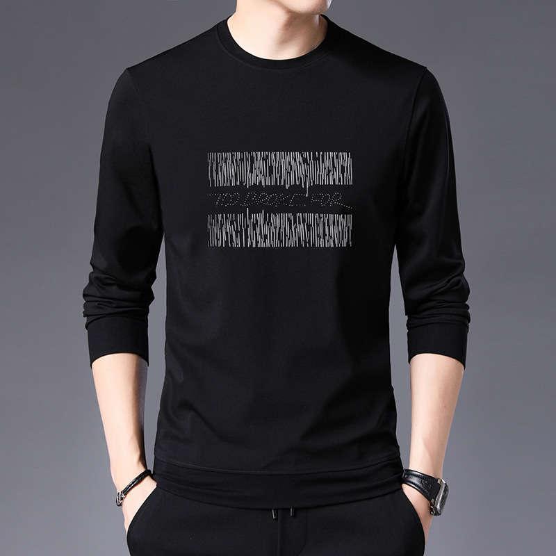 Primavera New Slim Fit Camisetas Casuais Casuais Redondo Pescoço De Manga Longa Camisa De Fundo Da Juventude Lazer Sports Sweater