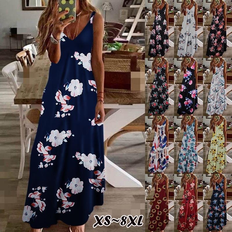 XS-8XL PLUS Размер женщины Maxi платье лето повседневная сексуальная бохо напечатанная длинное платье без рукавов V-образным вырезом женщин одежда свободный Vestido