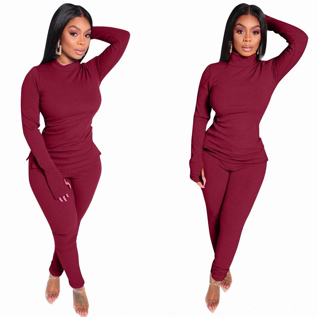 YFY9 Rahat Renk Kadınlar LY013 Spor Takım Elbise Moda Ince Elastik Uzun Kollu Ve Uzun Yaz Bayan İki Parçalı Set Artı Boyutu Yeni Pantolon Stil