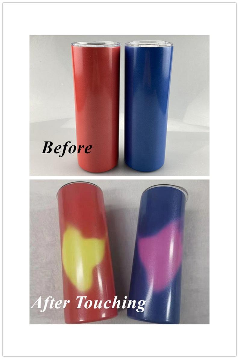 Sublimation Tumbler Heat Sensitive Color Changing Cup by Touching 20oz stainless steel STRAIGHT Tumbler Temperature-Sensing Cups free ship