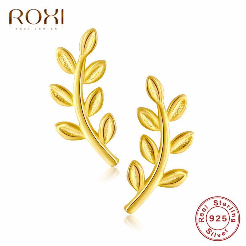 ROXI 925 Ayar Sier Zarif Yaprakları Saplama Boho Yaprak Dağcılar Kulak Tarayıcılar Bohemian Küpe Kadınlar Için Takı