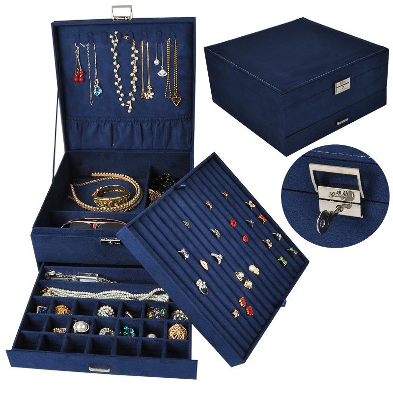 Box DIY Jewelry Bins Bead Storage Tray Drawer Bracelet Ring Show Large Capacity Elegant Flannel Makeup Organizer Q1130