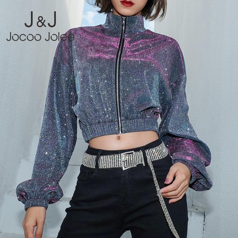 Jocoo Jolee 2020 Sequin Creaked Куртки с длинным рукавом Стенд Стенд Чая Бомбардировщик Толстовка Осень Повседневная Короткие Женщины Пальто Пиджаки Куртки