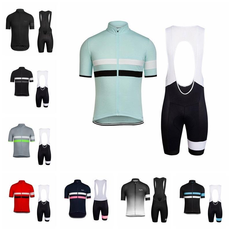 Pro Team Rapha 2019 Summer Men Cycling Jersey Set Traspirante Racing Bike Bike Sports Wear Manica corta MTB Abbigliamento per biciclette K072703