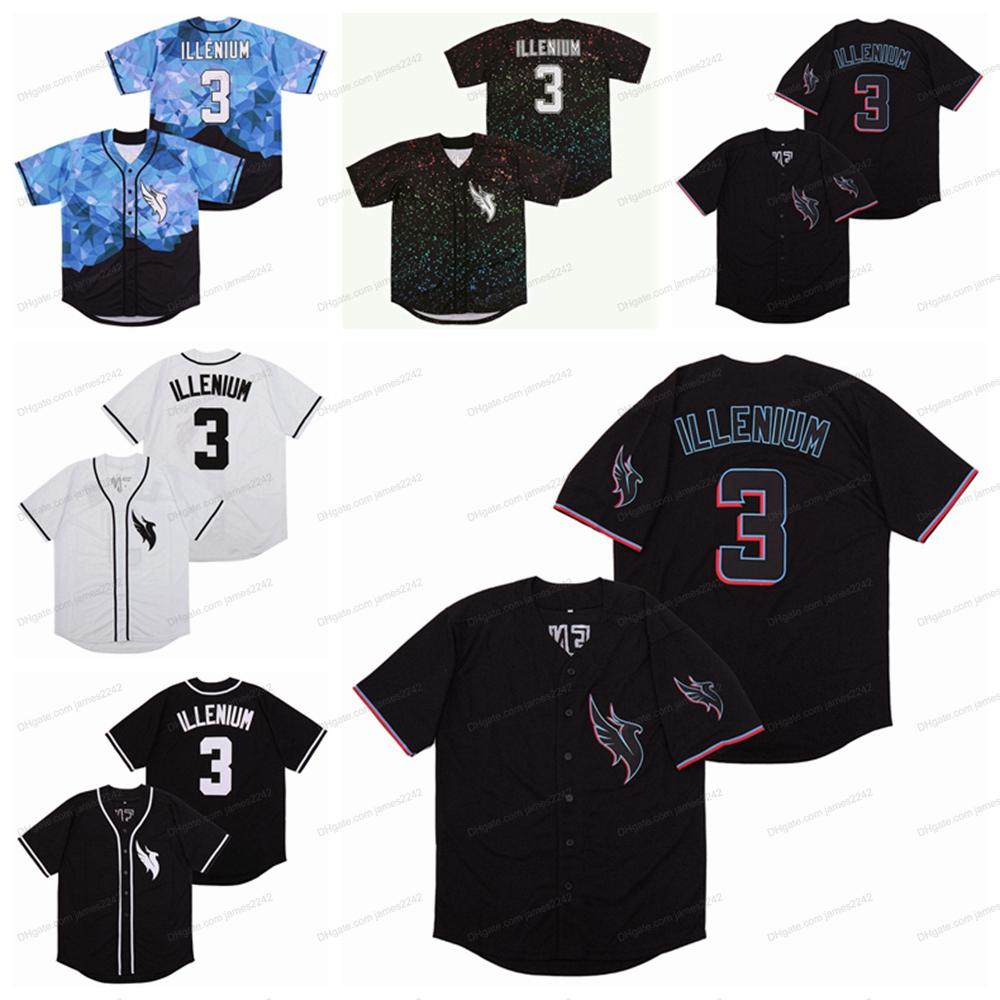 DJ Illenium Jersey Sänger 3 # Männer Baseball-Trikots Nähte weiße schwarze Modeversion Diamond Edition Top Qualität
