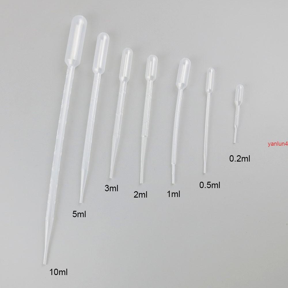 100 x 0.2ml 0.5ml 1ml 2ml 3ml 5ml 10ml 플라스틱 피펫 일회용 안전 저울 짚 에센셜 오일 의료 샘플링 TubeFree 배송