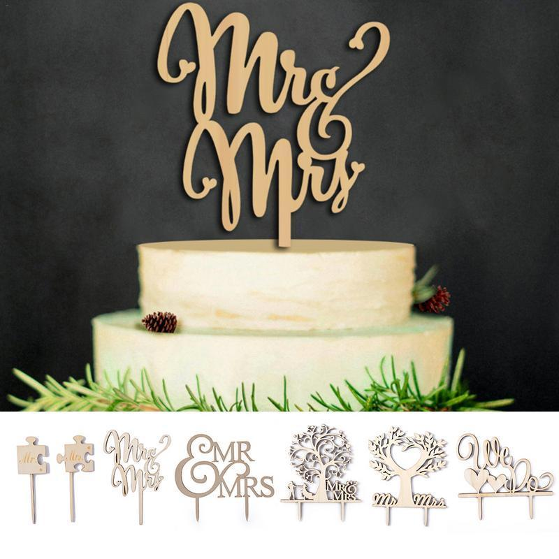 Ahşap MR ve MRS İlk Kek Topper Düğün Kek Rustik Topper Düğün Dekorasyon Malzemeleri