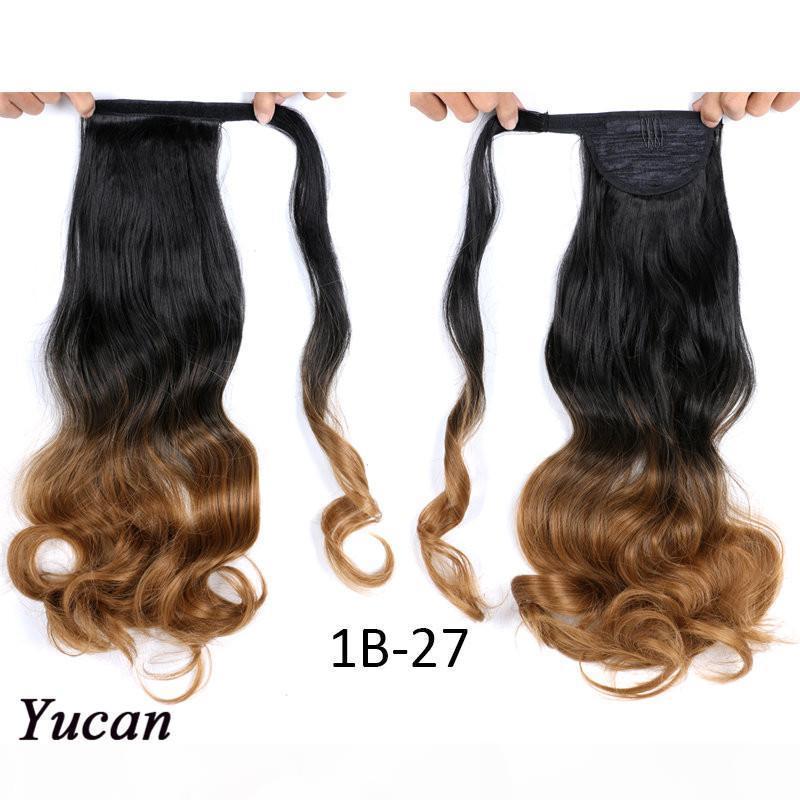 """17 """"Long Long Body Wave Enveloppement autour de l'extension de cheveux de cheval 110g PC Résistant à la chaleur Tail Synthétique Tail Fake Hair Clip en queue de cheval"""