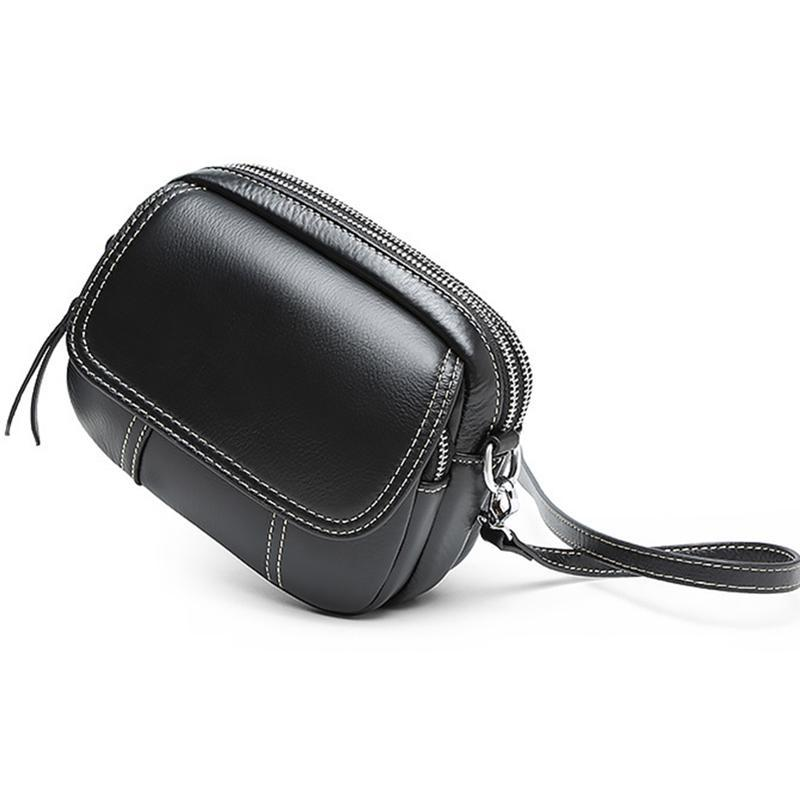 Leather one-shoulder small flap crossbody bag ladies fashion handbag portable messenger bag