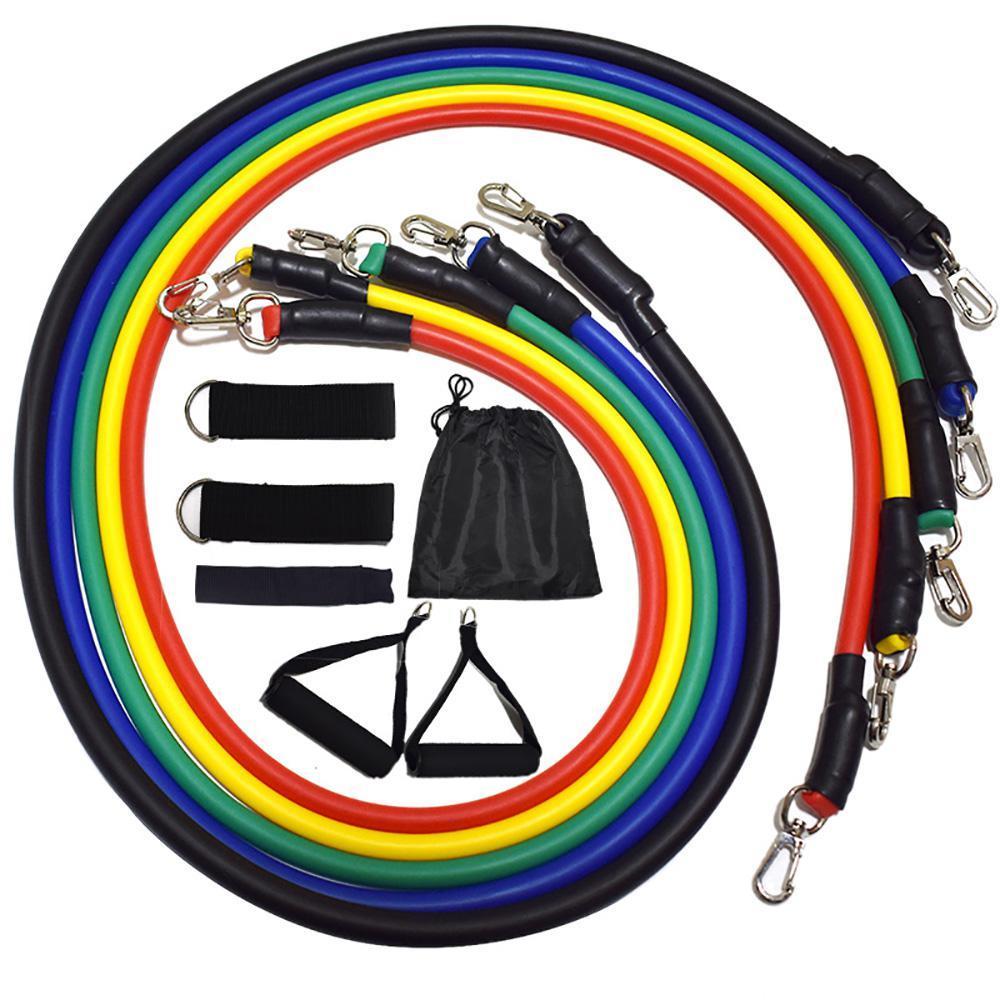 11 pcs / conjunto de faixas de resistência corpo fitness exercício equipamento de ginástica para casa com saco para homem e mulher EWC4005