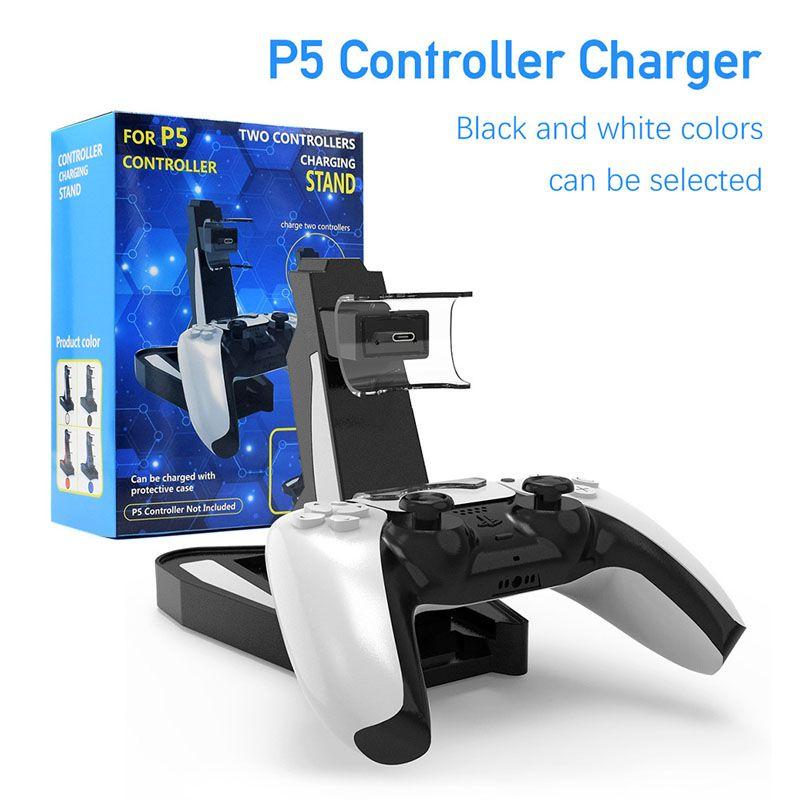 Для PlayStation 5 PS5 Контроллер игры Dual Port Зарядка зарядки Стенд СИД Светодиодное Индикатор Зарядное Устройство База Быстрое зарядка