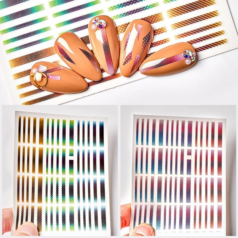 1 PZ Variopinto Gold Silver Sliders 3D Nail Stickers Straight Curved Foders Banconata Nastro a banda Involucri Geometrici Nail Art Decorations