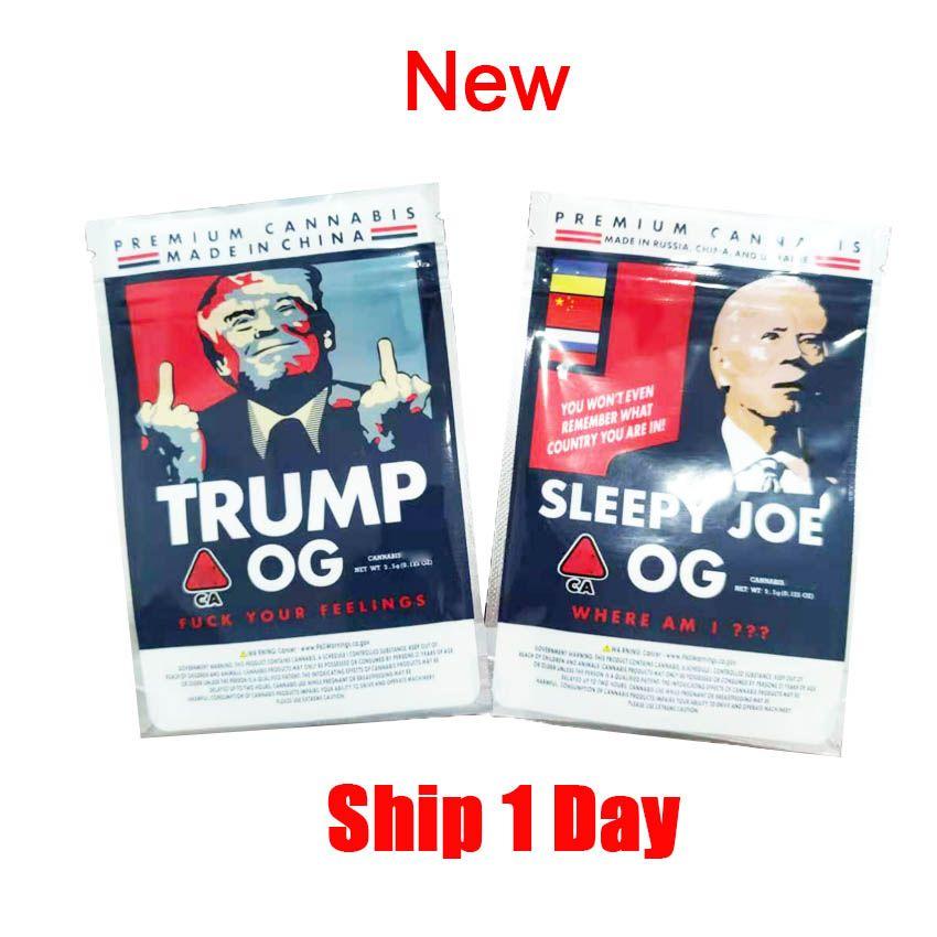 Nuovo Trump OG Bag Sleepy Joe OG OG 3 5G BAG BAG BAG BAGS SIGNITI SIGNIFICATI SIGILLATA BACCHETTO PIATTO PIATTO 420 HERB ASCIUTTO FIORE Imballaggio Borse Biscotti Book Edibles Borsa