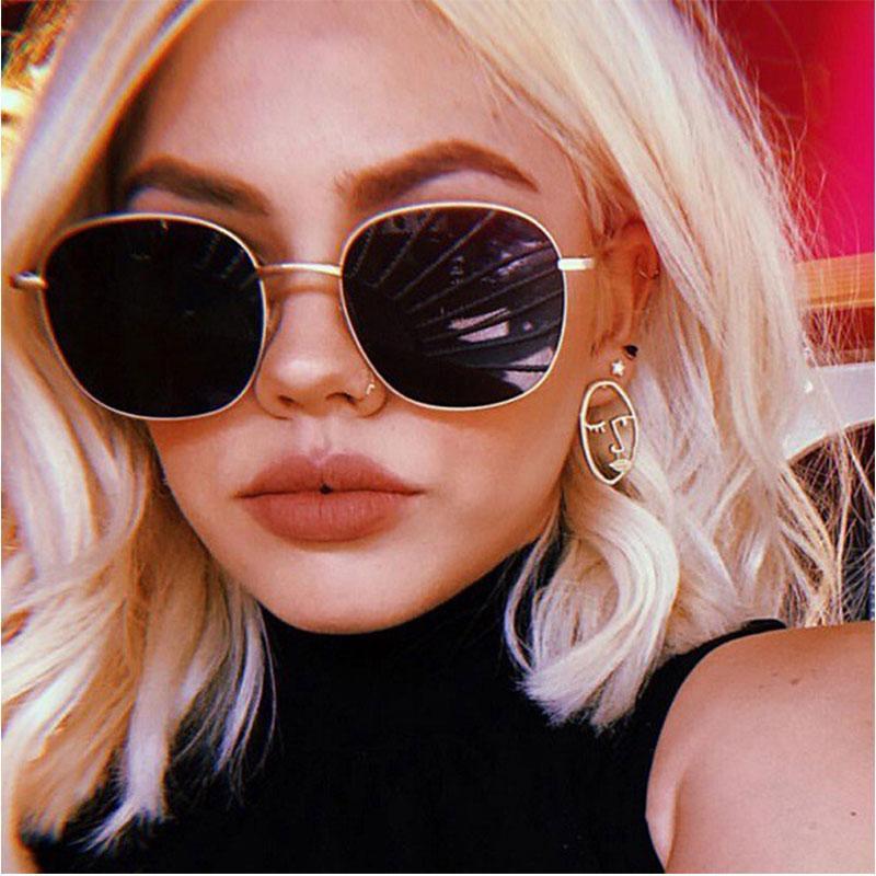 2020 gafas moda mujer gafas de sol ronda aleación gran oro uv400 espejo sol nuevo hembra sombras hombres gafas negro talfj