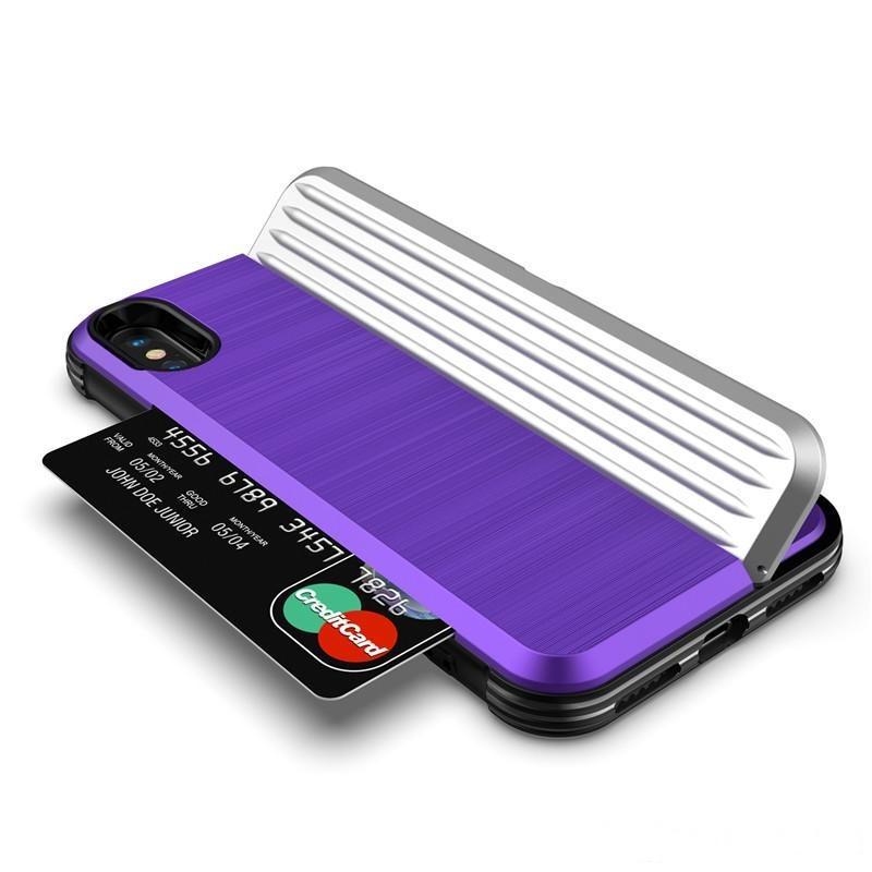 İPhone 9 6.1 Zırh Durumda Fırça Kartı Yuvası Tutucu Geri Kapak Kickstand Için iphone 9 Artı 6.5 Telefon Kılıfı B