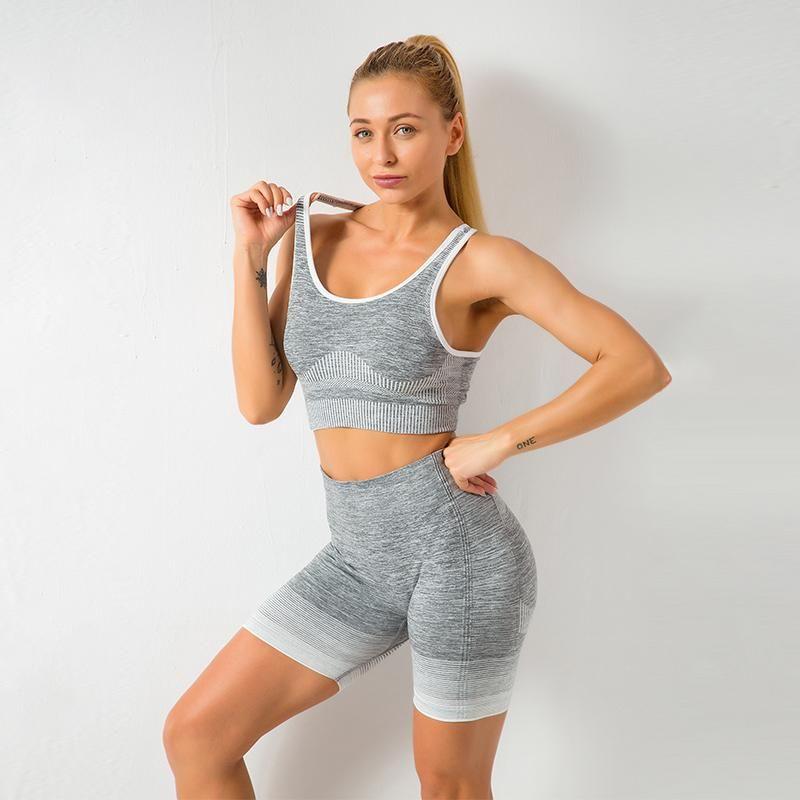 Women Yoga Set Running Sports Suits Tracksuit Women Bra Sleeveless Breathable Summer Shorts Tanks Seamless Fitness Gym Sets