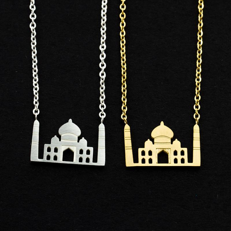 Jewelry Taj Mahall Necklaces For Women Stainless Steel Charm Pendant Arabic Mosque Islam Necklaces Collier Femme Bff Gift