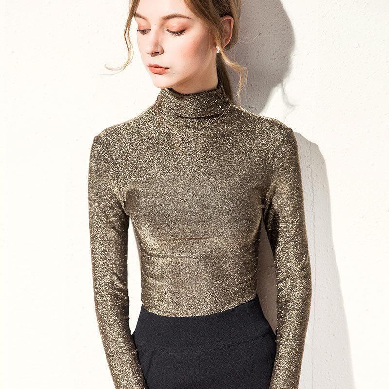BornlaDies 2020 Neue Herbst Winter Langarm Warme elastische Bottoming Top Pullover Basic Daily Turteck Gold Farbe Tops Frauen