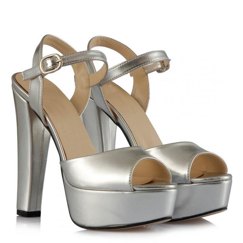 Mst-1027 Argent femmes en cuir élégant talons hauts bout pointu chaussures de mariage talons de cristal clair Slingback 35-40